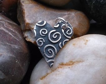 Sterling Silver Swirly heart charm