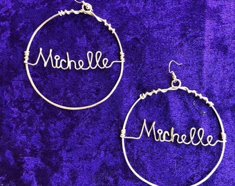 Wire name earrings