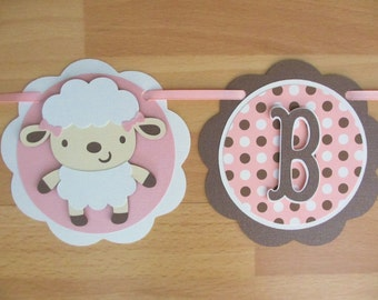 Lamb Sheep Baby Girl Shower Birthday Party Banner Sign Pink Brown