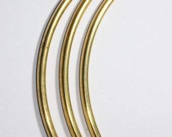 6 Pcs (4,6x110mm) Raw Brass Curved Tubes, Necklace tubes , Raw Brass Findings