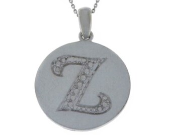 Initial Letter Z Pendant .925 Sterling Silver Rhodium Finish