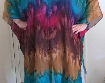 Silk Caftan Hand Dyed Extra Large Island Sunrise Long Caftan
