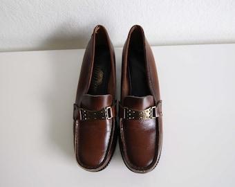 VINTAGE Schuhe Damen Slipper 1970er Jahre braun Leder Größe 8