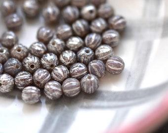 Little Tinkerbell - Premium Czech Glass Beads, Milky Lavender, Mercury Finish, Baby Melon Rounds 4mm - 25