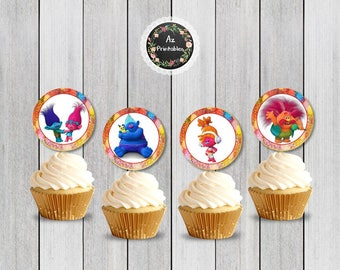 Trolls cupcake toppers, printable, jpg, 300dpi, instant download, poppy, princess, birthday, party, tags