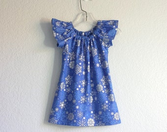Royal Blue Flutter Sleeve Dress - Royal Blue with Metallic Silver Snowflakes - Dark Blue Toddler Dress - Size 12m, 18m 2T, 3T, 4T, 5, 6 or 8