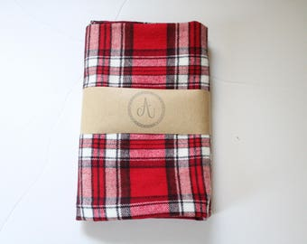 Flannel Plaid Swaddle Blanket, Red, Black and White Plaid, Flannel Throw, Gender Neutral, Christmas Gift, Baby Shower Gift, Lumberjack