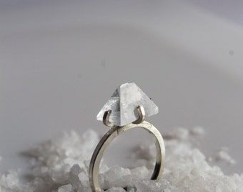 Crystal Pyramid Ring Sterling silver Ring - Apophyllite stone ring Engagement Ring Abstract ring - RARE