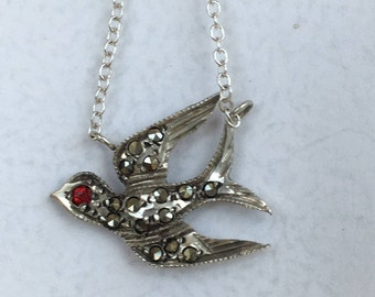 Antique Late Victorian  Sterling Silver Marcasite Swallow Dove Bird Pendant Necklace