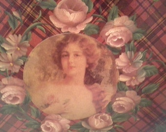 Tea is served....wooden tray with victorian print
