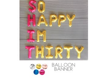 SO HAPPY Im THIRTY Balloons  Decoration, Rose Gold Balloons, 30TH Birthday Banner Balloons, birthday party decoration, Party, thirtieth