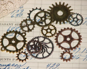 1 Dozen Assorted Steampunk Gears - Gold, Silver, Copper, Bronze