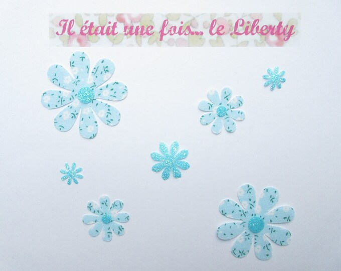 Applied 7 seconds flowers blue liberty print fabric patch flower glitter motif fusible iron-on glitter flex and sky