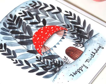 Birthday Card - Mushroom Birthday Card - Blank Birthday Card - Illustration Art - Woodland Birthday Card - Mushroom House Birthday Card