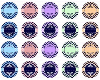 Editable Chevron - Button Size Images 1.837 Inch (1.5 inch Button) Digital Collage Sheet for Badges n Buttons