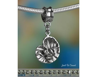 Lily Pad Frog Charm or European Style Charm Bracelet Sterling Silver