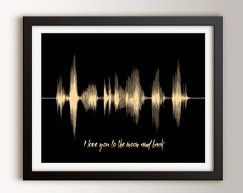 Soundwave Art Print, Gift for Boyfriend, Gift for Him, To the Moon and Back Voice Art, Personalized Gift for Husband, for Men
