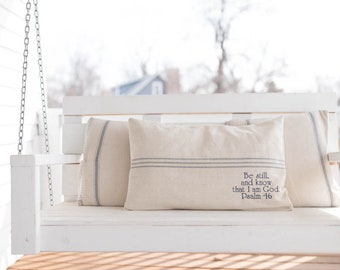 Psalm 46 Grain Sack Pillow Cover, Available in Blue, Brown, and Red