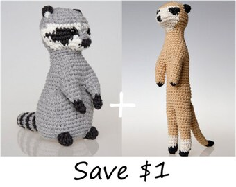 Raccoon Amigurumi Pattern, Meerkat Amigurumi Pattern, Crochet patterns bundle, sale, discount. Home decor, crochet sculpture, crochet art