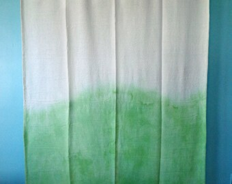 Hand Dyed Thermal 100% Cotton Throw Blanket -- Sage Green Dip Dyed Blanket -- Twin-- Ombre