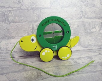 Pull Along turtle, personalised, sensory, wooden toy