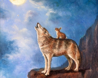 Isabella  and the Wolf  Moon  Print
