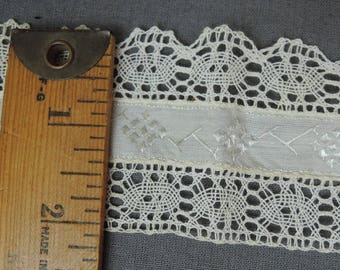 Antique Vintage Ivory Lace Trim with Ribbon center, 2-1/8 yards 2-1/4 inches wide 1900s
