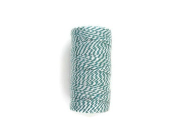 Teal and White Baker's Twine, Teal Baker's Twine, Teal and White Twine, Chunky Twine, Blue Green Twine, Teal Twine, 100 Yard Spool