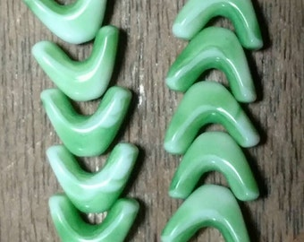 Vintage Minty Green and White Chevron Beads