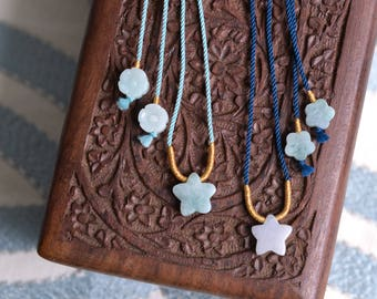 Jade stars adjustable necklace. Traditional Chinese knotting art. Dark blue mermaid green and gold necklace. READY TO SHIP/style069