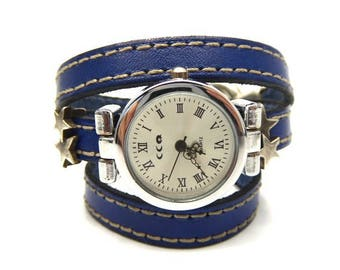 Denim blue leather watch at seams and its stars and u clasp