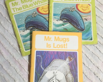 Vintage Mr Mugs Books for Children Educational Learning School 1976 The Blue Whale Mr. Mugs is Lost