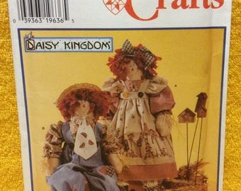 "Simplicity 7446 Dolls And Clothing 24"" Dolls Sewing Pattern, Scarecrow Dolls, Daisy Kingdom Craft Pattern Uncut 1996"