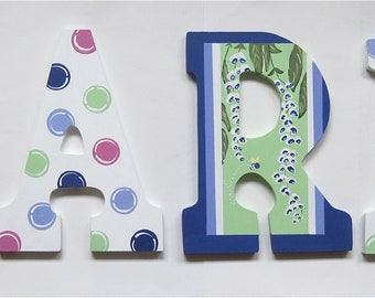 Personalized 9 inch wood hand-painted letters