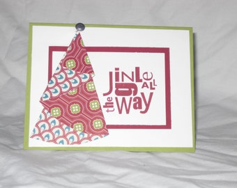 Jingle All the Way Card, Christmas Card, Folded Christmas Tree, Red and Green Card, Holiday Card, Merry Christmas Card,