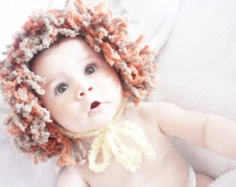 6 to 12m Lion Hat Baby Lion Mane Hat Animal Hat Baby Bonnet Crochet Lion Baby Hat Yellow Brown Orange Baby Photo Prop