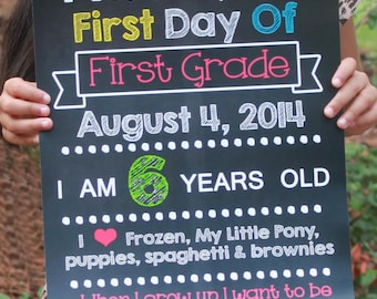 Chalkboard School Sign First Day of School SALE Girl DIGITAL JPEG file