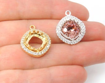 2 pcs x Square 10mm Crown Bezel Zircon Rhinestone Earring Making Pendant Setting Fit Swarovski 4470 Crystal, Choose Your Finish (TASQ10CRYV)