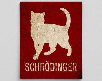 Schrodinger's Cat Physics Poster Print Quantum Mechanics Poster Funny Teacher Gifts for Teachers Science Art Office Decor Nerdy Gift Ideas