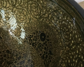 Late 1980s era handmade handpainted papier Mache bowl