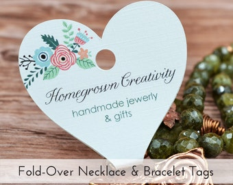 Custom Flower Heart Fold Over Jewelry Display Necklace Cards Tags Jewelry Display |  DS0025