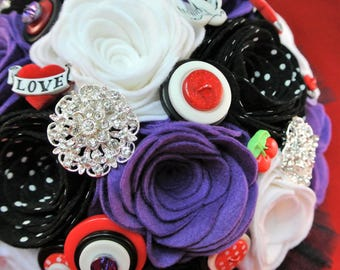Custom Made Tattoo Inspired/Rockabilly Felt, Button and Brooch Bouquet, Alternative Wedding, Felt Flowers, 50s Wedding Bouquet,