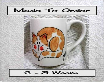 Ginger Cat Ceramic Mug Made To Order Orange and White Handpainted Original Design With Paw Prints GMS