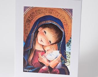 Portico Virgin. Canvas print mounted in frame. Reproduction numbered of Juan Ferrandiz's work