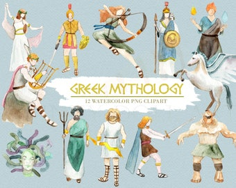 Greek Mythology Clipart Watercolor Digital Download Greece Vector God Goddess Ancient Trident Medusa Zeus Travel Invite Paint Original