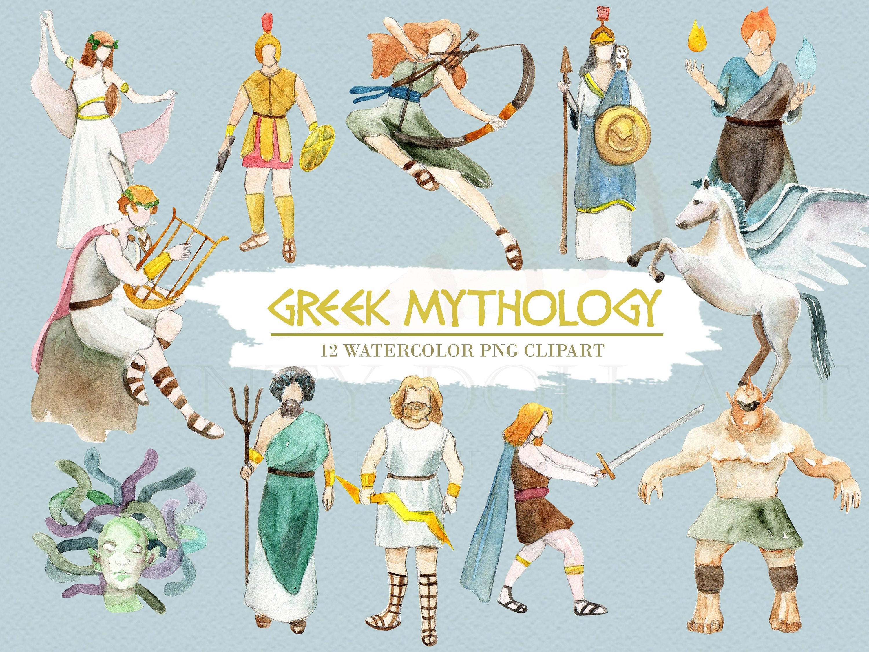 greek mythology clipart watercolor digital download greece ancient greek gods clipart zeus greek god clipart