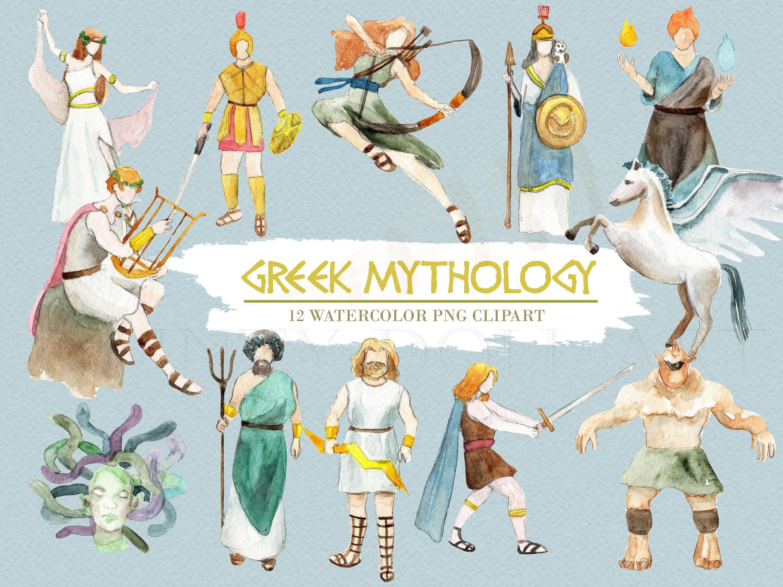 greek mythology clipart watercolor digital download greece rh etsy com greek mythology gods clipart greek mythology clipart free