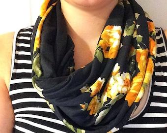 READY to ship infinity scarf - twice - yellow-orange flowers on a black background