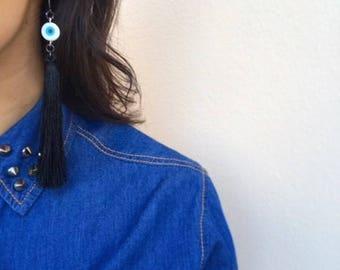 Evil Eye Earrings, Evil Eye Jewelry, Greek Evil Eyes, Greek Jewelry, Greek Earrings, Protection Jewelry, Long Tassel Earrings, Hook Earrings