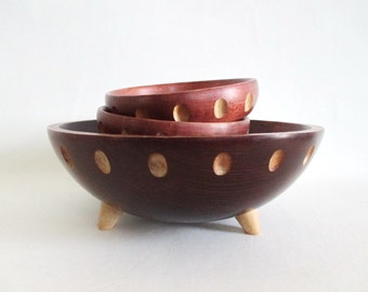 Baribocraft Footed Wood Salad Bowl 2 Individual Bowls Maple Made in Canada Mid Century Modern